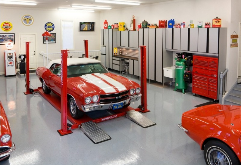 Great floorings for your garage epoxy floorings epoxy for Home mechanic garage layout ideas